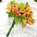 Mini Bouquet Flower Stamen - Big Glass Head, orange, 10 pieces, Long 9cm, [st1125]